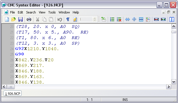 CNC Syntax Editor Screenshot